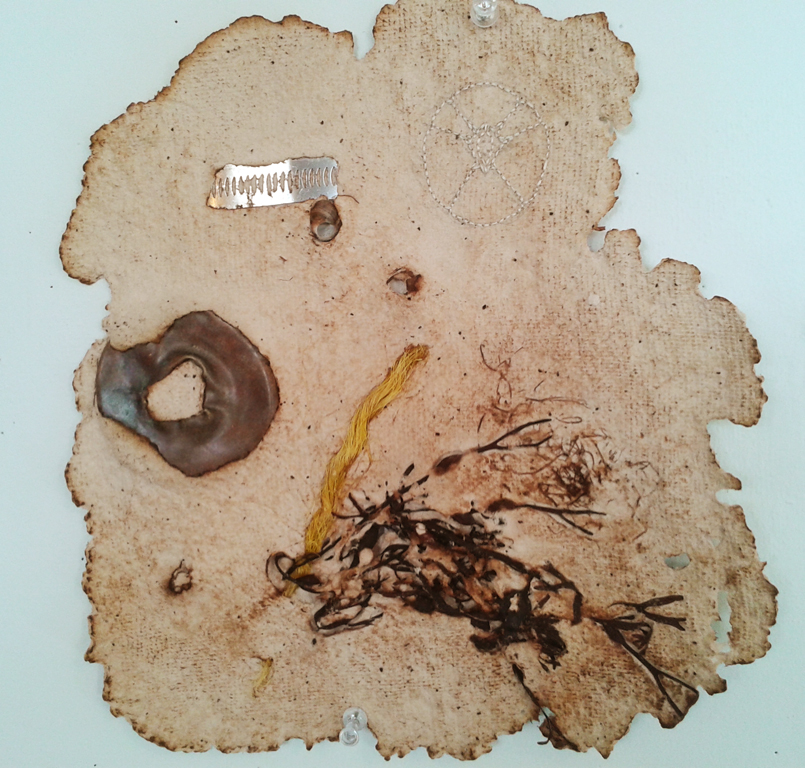 Untitled Embroidery on handmade paper, pig intestine, seaweed, shells, fish bones, found objects Variable dimensions 2014